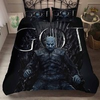 3D Print Game of Thrones King of Ghost Duvet Cover Set Black Bedding Set 3 Pieces with 2 Pillowcase Boy Bed Linen Set Bedclothes