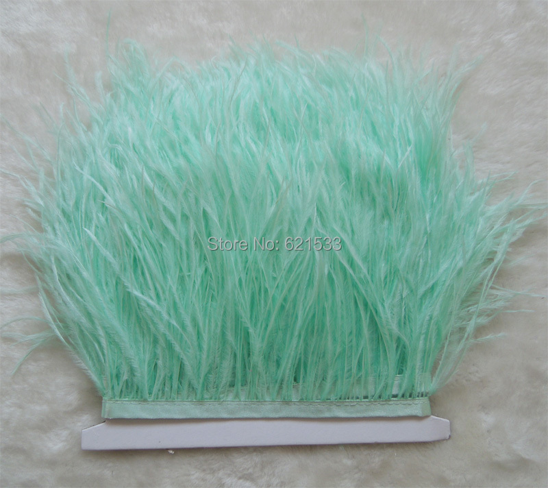 MINT GREEN Ostrich Fringe,10yards/lot-MINT GREEN Ostrich Fringe Trim feather,Ostrich trimming on Satin Header 5-6inches in width