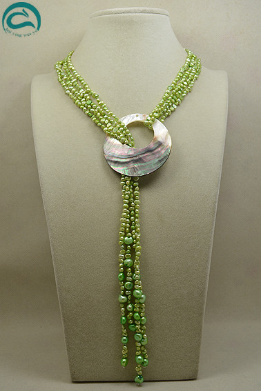Perfect Baroque Long Pearl Jewellery,120cm Nice Green Pearl With Big Size Sea Shell Birthday Party Women Gift