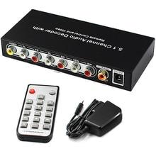 5,1 канала аудио декодер оптический SPDIF коаксиальный оптический выход к 5.1CH аналоговый аудиоконвертер RCA с дистанционным Управление и Мощность Plug