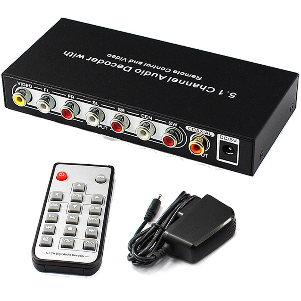 5,1 Kanal Audio Decoder Optische SPDIF Toslink Koaxial Zu 5.1CH Analog RCA Audio Converter mit Fernbedienung und Power Stecker