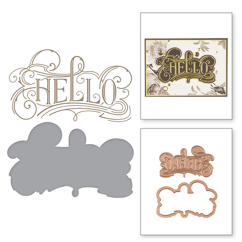 Hello Letter Words  HOT FOIL PLATE Silver Metal Cutting Dies DIY Photo Embossing Die Scrapbooking Stencils Hot Stamping Foil