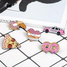 Rosa Donut Banana Pizza Herz Auto Pins und Broschen Süße Emaille Pin Abzeichen Kragen Pins für frauen mädchen Shirts Brosche schmuck Geschenk
