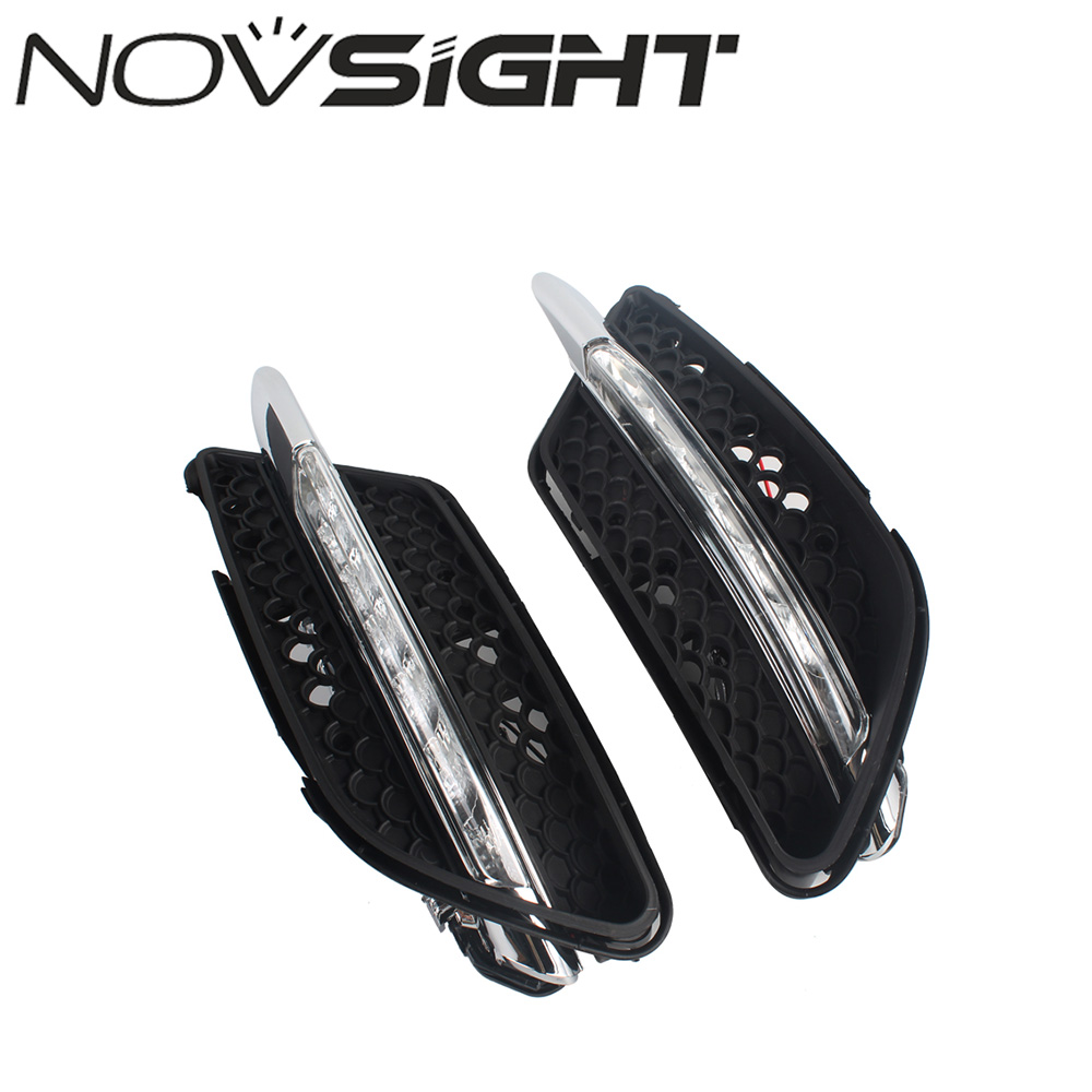 NOVSIGHT Auto Car LED Daytime Running Light White Fog DRL Driving Lamp Kit For Benz W204 2008-2010 high quality h3 led 20w led projector high power white car auto drl daytime running lights headlight fog lamp bulb dc12v