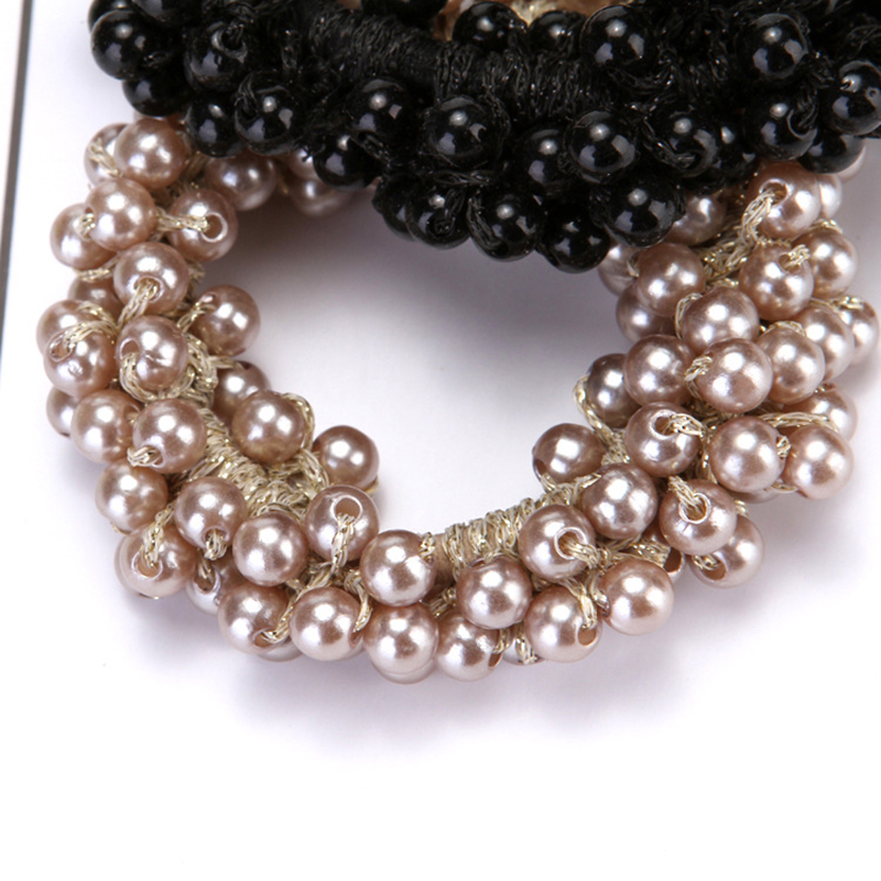 Fashion Rope Scrunchie Ponytail Holder White Black Champange Faux Pearl Beads Elastic Hair Bands Hair Accessories for Women