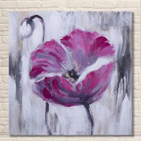 Imagem simples Óleos Pintados À Mão Flor Abstrata Pintura A Óleo sobre Tela Handmade Acrílico Floral Pinturas Da Arte Da Parede Decoração Da Sua Casa
