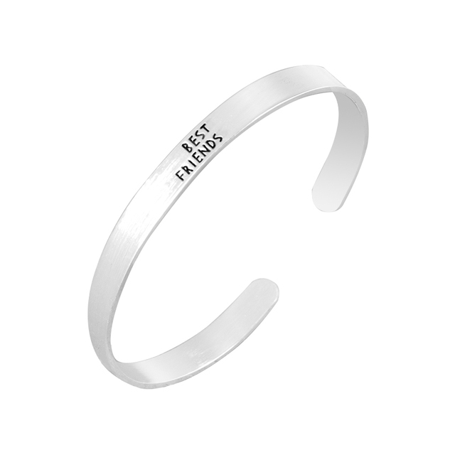 Hand Stamped Friendship Carved Letters Inspiring Best Friends Bangles Stainless Steel Cuff Bracelets For