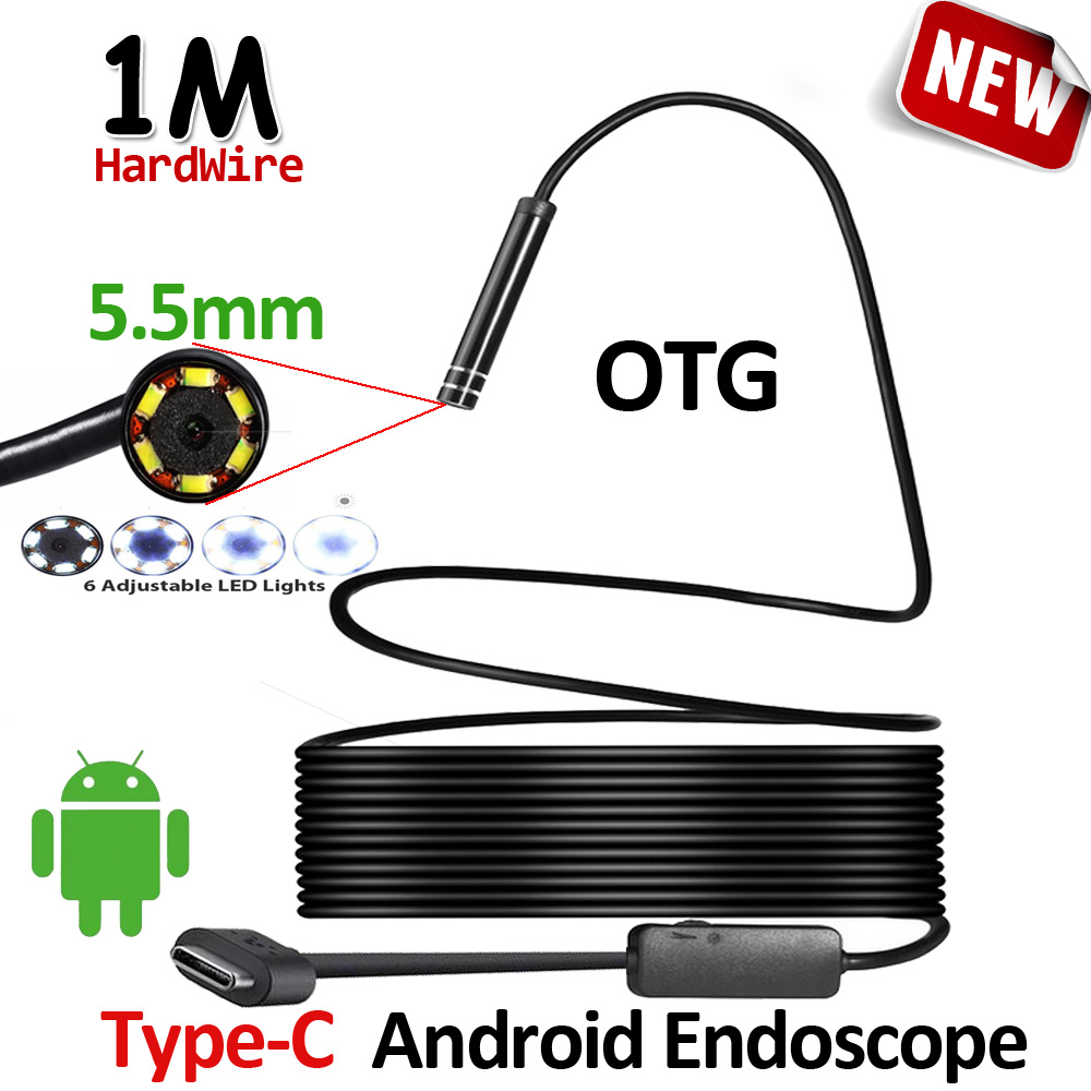5.5mm Lens 1M USB Type C Android Endoscope Camera Flexible Hardwire Snake USB Type C IP67 Waterproof Tube Inspection 6LED Camera 7mm lens mini usb android endoscope camera waterproof snake tube 2m inspection micro usb borescope android phone endoskop camera