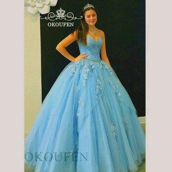 9617788fc Vestidos De Quinceañera De encaje azul 15 Sweet 16 Vestido De quinceañera  inflado vestidos De graduación para 15 años Vestido De Debutante