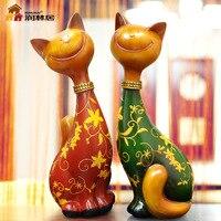 Творчески Lucky Cat счастливая пара смолы украшения домашнего декора ремесла свадебный подарок