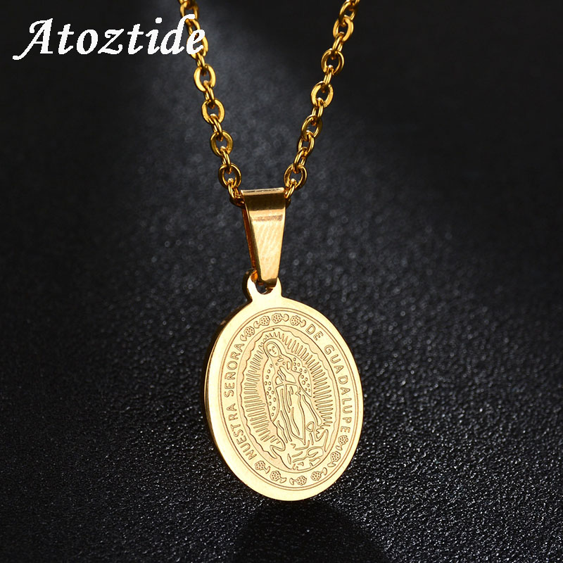 My Altar Saint Juan Diego for Miracles of Guadalupe Rose Gold Stainless Steel Pendant Necklace