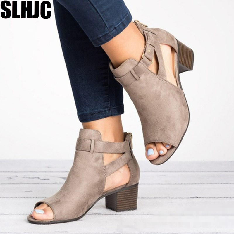 SLHJC Sandals Shoes Pumps Buckle Heel Square Chunky Female Plus-Size Peep-Toe Med Women