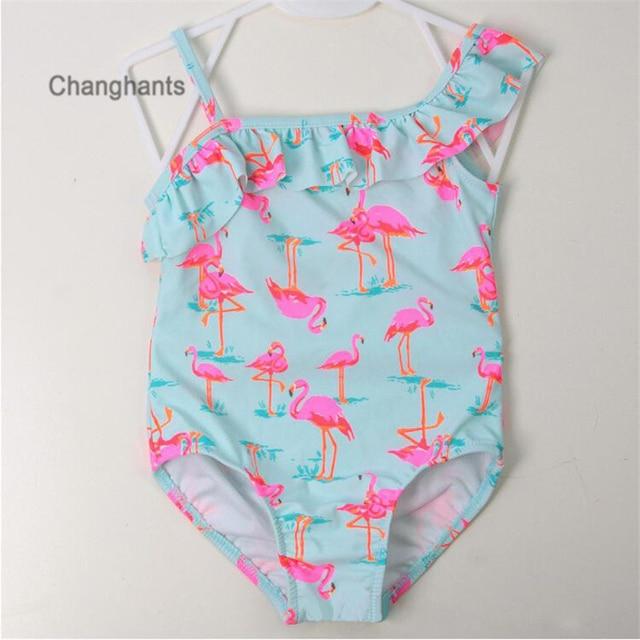 ed656c4c99c7f Girls Swimwear with Pink Flamingos Pattern 1-14 Y Children One Piece  Swimsuit Kids Bathing suit Summer Beach Swim wear