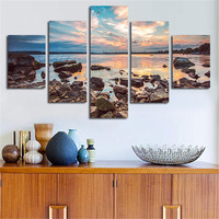 5 Planes Wall Art Canvas Printed Stone With Seascape Modern Posters And Print Home Decorative Unframed