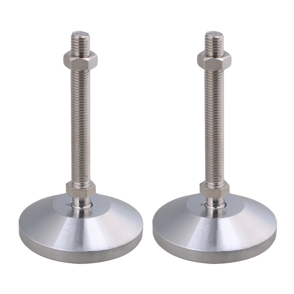 Carbon Steel 80mm Dia M12x100mm Thread Adjustable Joint Feet For Machine Furniture Feet Pad Max Load 3Ton Pack Of 2