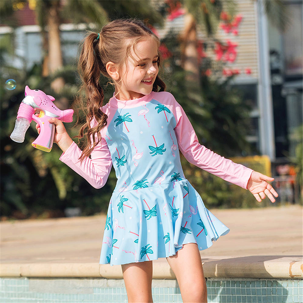 Long Sleeve One Piece Swimsuit Girls Print Children Swimwear Child Skirt Swim Suit Kids Rash Guard Bathing Suit Zipper Beachwear(China)