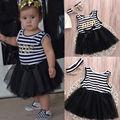 Hot Princesa Bebé Recién Nacido Niños Muchachas Del Vestido Del Verano Vestido de Tirantes del vestido de Bola Del Mono Trajes 0-4Y