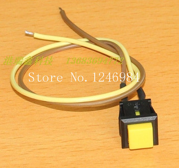 [SA]No square button switch trigger lock switch normally open RESET reset button with a line of yellow PB307B--50pcs/lot