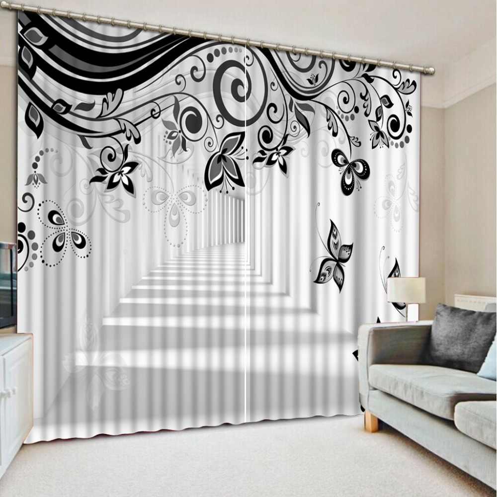 Черный и белый 3d Шторы узор Шторы для Спальня расширить пространство Sheer Шторы Затемненные окна Кухня шторы