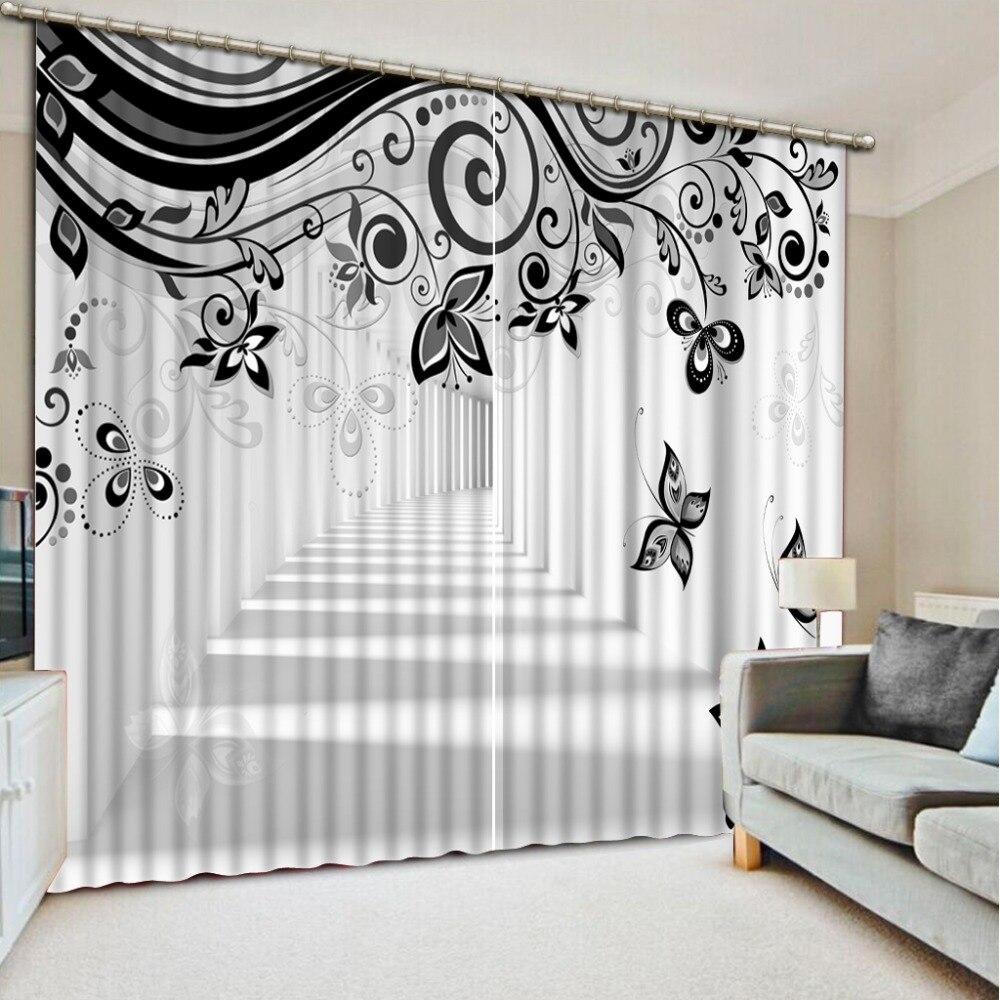 Noir et blanc 3D Rideaux motif Rideaux Pour Chambre Élargir l'espace Sheer Rideaux Blackout Fenêtre Cuisine Rideaux