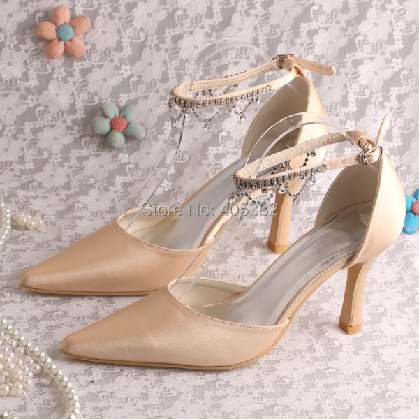 ФОТО Wedopus Brand High Heels Champagne Pointy Heels for Party Wedding Shoes Ankle Strap Dropshipping