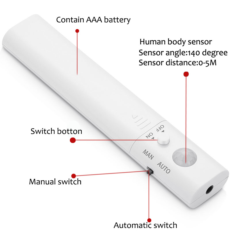 10 шт. двойного режима Светодиодные полосы Сенсор Водонепроницаемый ночник автоматические движения Активированный внутреннего стены безопасности лампа для шкафа кровать дома - 3