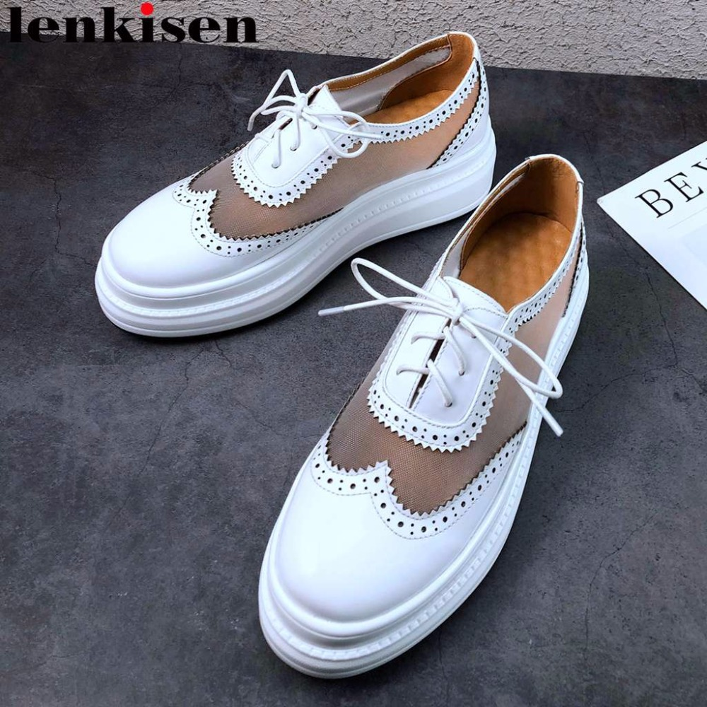 Lenksien well ventilated natural leather med bottom flat platform round toe lace up loafers sneakers mesh
