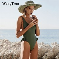 Wangtrun swimsuit women 2018 new sexy backless swimsuit solid Ruffled one piece swimsuit beach swimming pool swimsuit