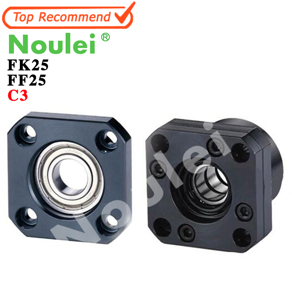 Noulei Ballscrew Support Bearing Set:1pcs FK25 C3 + 1pcs FF25 C3 for 32mm Ballscrew SFU3205 SFU3210 end bracket support CNC noulei ballscrew support bk17 bf17 c3 linear guide screw ball screws end supports cnc