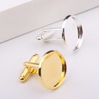 Onwear 20pcs Fit 18mm Cabochon Cufflink Blanks Base Silver Plated Gold Plated Copper Cufflinks Backing Trays