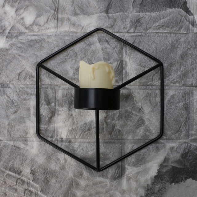 Nordic Style 3D Geometric Candlestick Metal Wall Candle Holder Sconce Home Decor 3