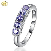 Hutang Purple Real Tanzanite Diamond Rings for Women Wedding Fine Five Stones 925 Sterling Silver Jewellery Bague Femme Bijoux