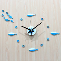 DIY Wall Clock Modern Design Mediterranean Fish Stocks Clocks Nordic Pastoral Style Wall Watch Silent 3D Stickers Home Decor