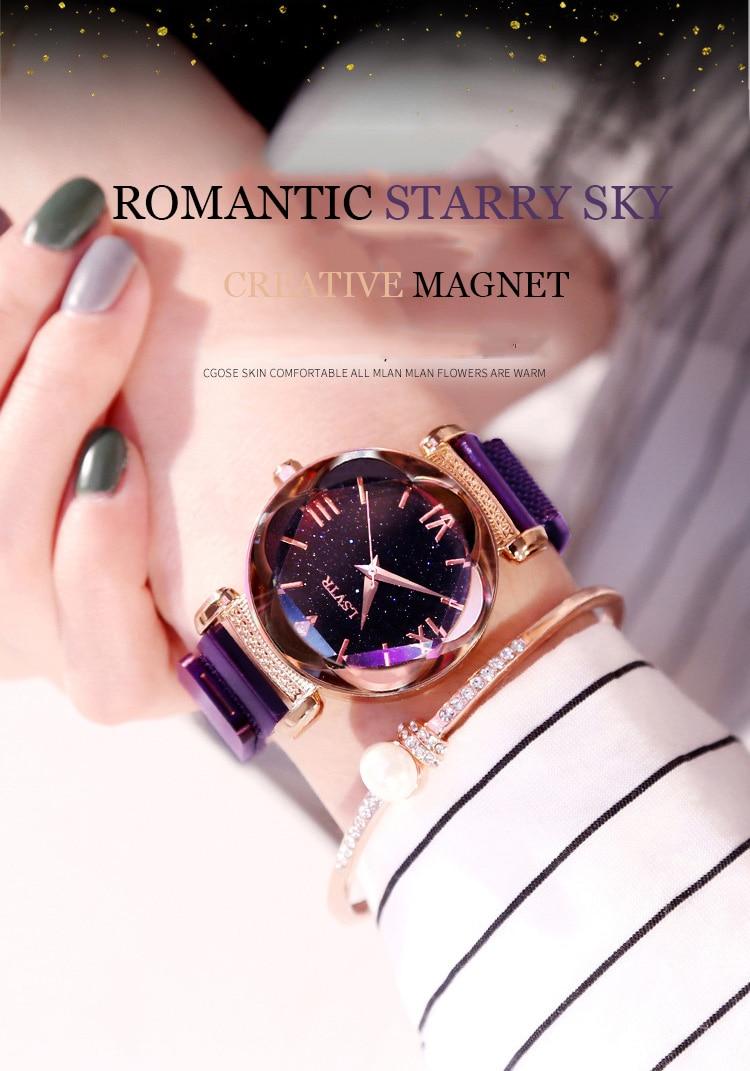 2019 Popular Women Watches Fashion Elegant Magnet Buckle Luxury Purple Lady Wristwatch 2018 Starry Sky Roman Numeral Gift Clock (1)