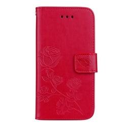 For Fundas iPhone 8 Plus Cover Leather Case Flip Cover For Coque iPhone8Plus Rose Floral Case For Case iPhone 8 Plus Phone Etui 2