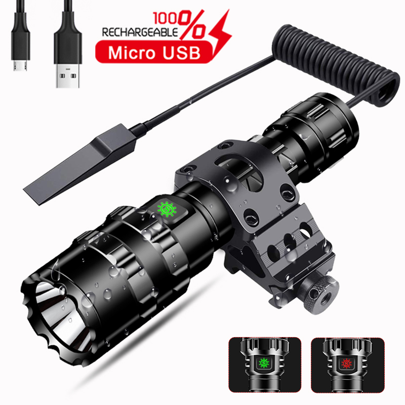 8000LM LED L2 Tactical Flashlight Super Bright USB Rechargeable Torch Clip Hunting Light Waterproof For 18650 Battery