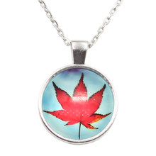 New Brand Jewelry Canada maple leaf Charming Glass Cabochon Silver Plated Long Pendant Necklace for Women Gift(China)
