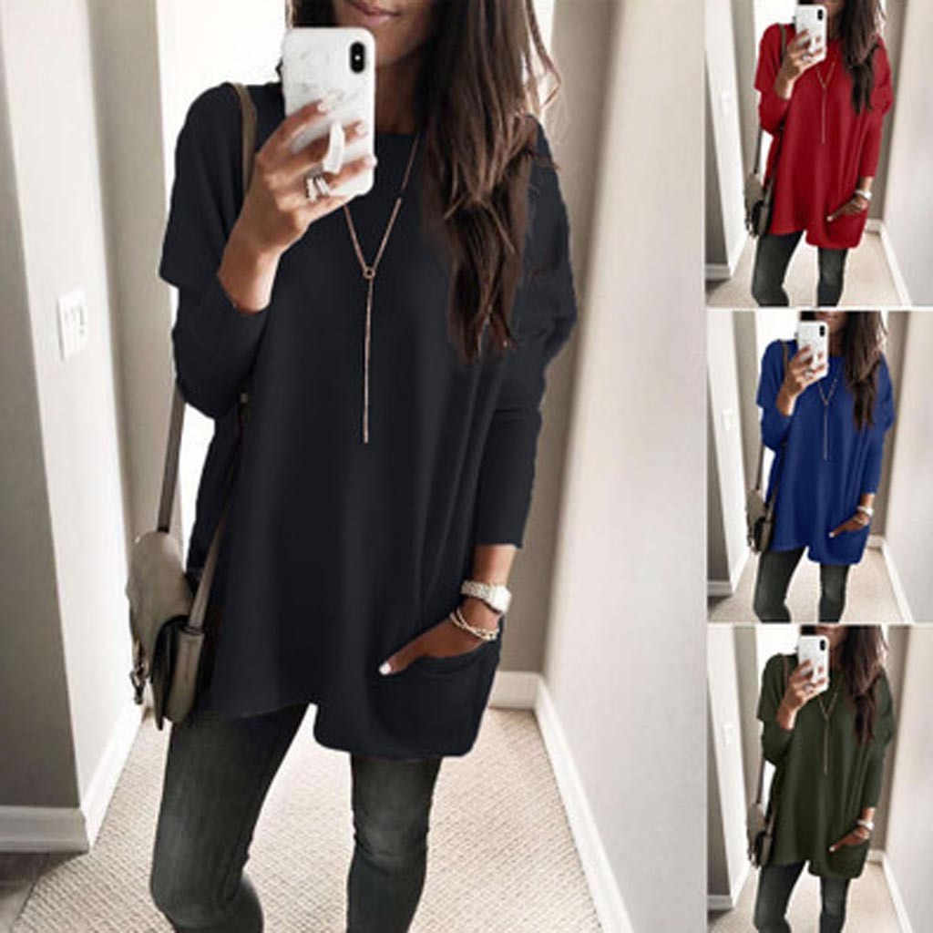 WJAYCOSIN bluzki damskie koszule plus rozmiar solidna długi rękaw, dekolt kieszeń luźne top na co dzień 2019 moda shein vadim kimono 9717