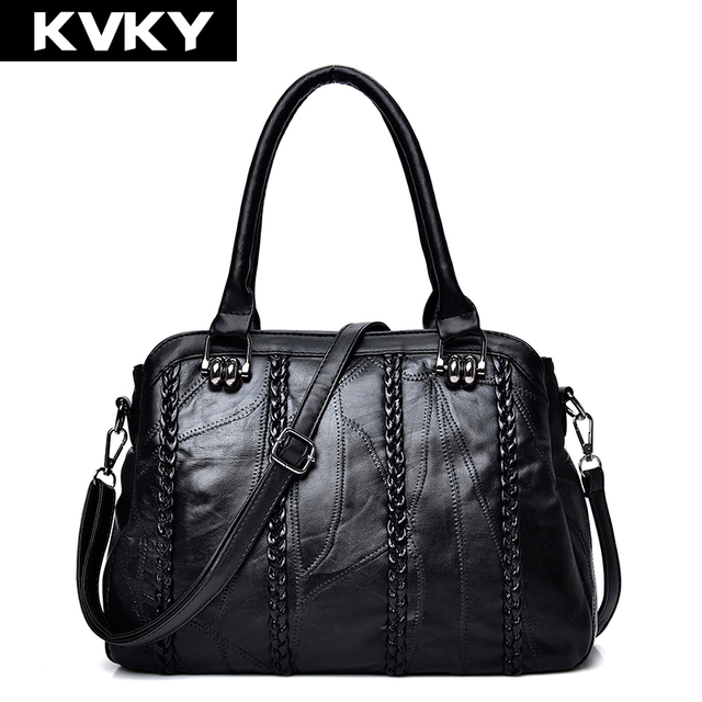 f0db05cd5f KVKY Fashion Luxury Women Genuine Leather Handbags Patchwork Sheepskin Messenger  Bag Brand Tote Female Shoulder Bag Bolsas