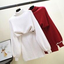 ALPHALMODA 2018 Autumn Winter Turtleneck Collar Pearls Beading Sleeve Pullover Sweater + Skirt 2 Piece Women Set
