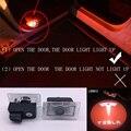 2X Car LED Porta Cortesia logo Luz Do Projetor Santo Sombra Luz Para tesla model s bem-vindo Lâmpada de energia