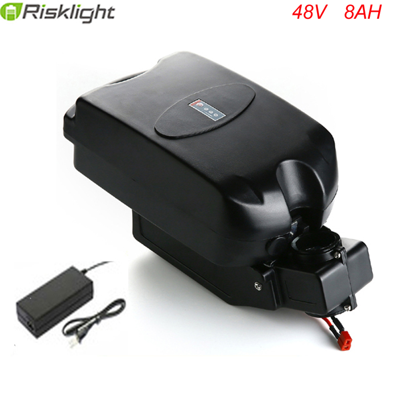 Hot sales 48v 8ah lithium battery frog type 48 volt 750w electric bicycle battery with 2A charger and bms liitokala 18650 lithium battery 36v 8ah electric bicycle battery 500w with pvc housing for electric bicycle 42v 2a charger