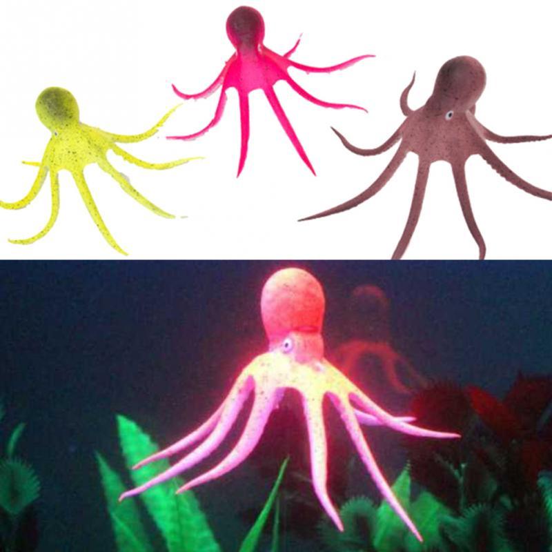 Artificial Octopus Aquarium Decoration Aquarium Fish Tank Landscaping Decor Glowing Effect Animal Plants Water Ornament