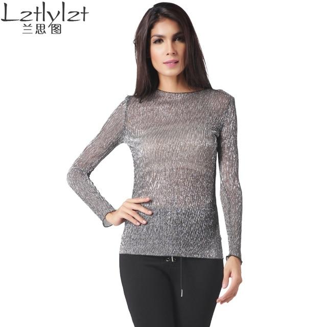 2016 blusa de Las Mujeres camisas de manga larga camisa de la Cartilla sexy  luz Transparente aca588f55d899