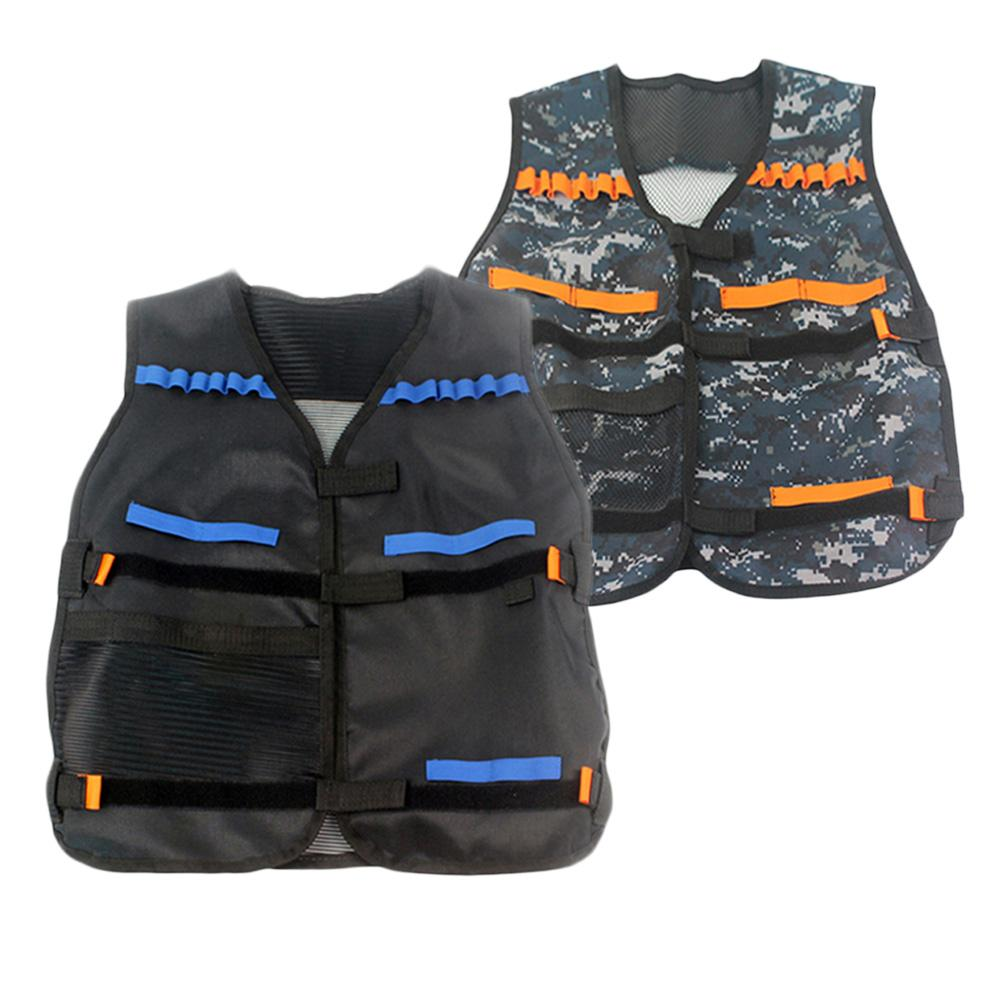Outdoor Horse Riding Vest Security Guard Children Kids Black Tactical Vest Jacket Waistcoat Tool Holder Toy Clip Darts