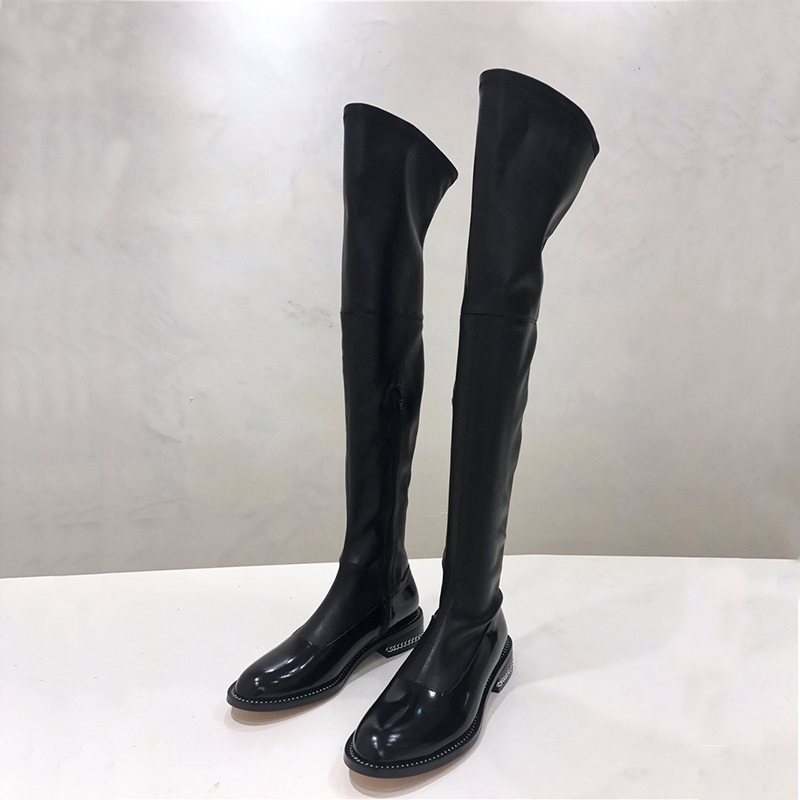 2017 Hot Autumn Winter Shoes Woman Leather Over the Knee Boots Metal Chain Thigh High Boots Designer Woman Casual Boots Shoes