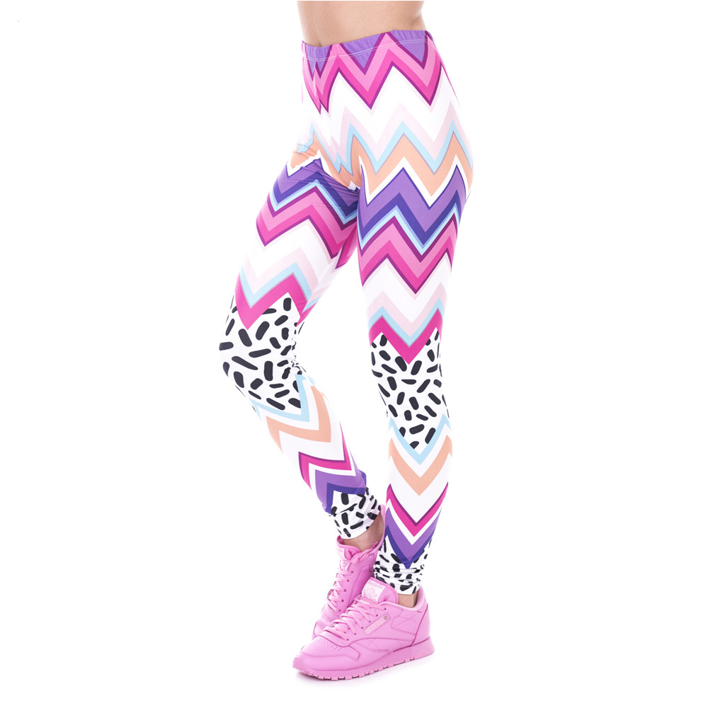Spring Fashion Women Legins Zig Zag And Dashes Printing Sexy Slim Legging Woman High Waist Leggings