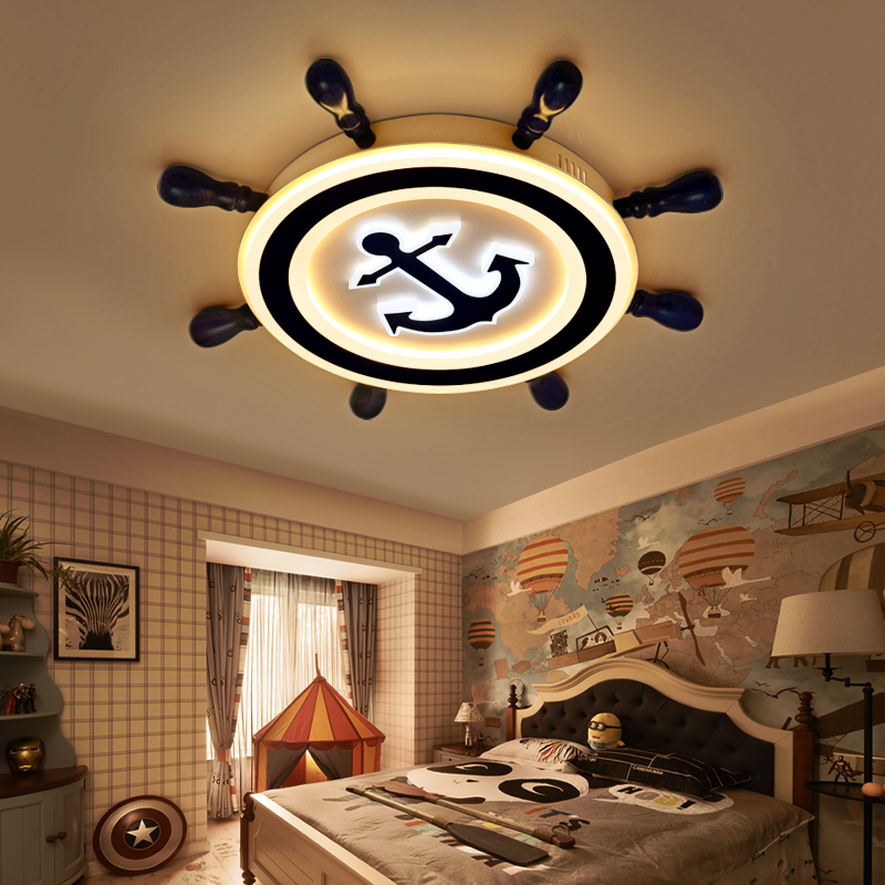 Mediterranean Ceiling Lights originality blue simplified cartoon rudder boy bedroom light baby eye ceiling lamp LU621