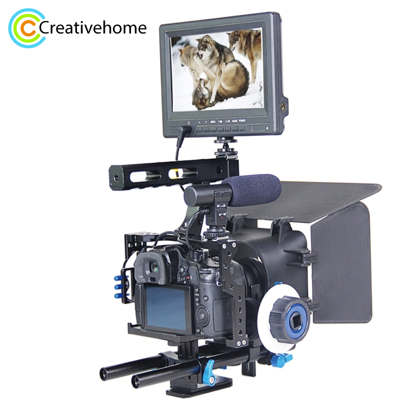 Handle Video Camera Cage Stabilizer Kit with Matte Box & Follow Focus for Panasonic Lumix DMC GH4 & G7 / Sony A7 & A7S & A7R