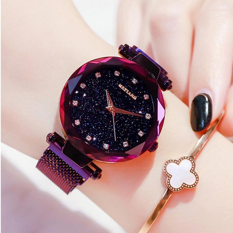 Rose Watch Women Quartz Watches Starry Sky Fashion Ladies Top Brand Crystal Luxury Female WristWatch Girl Clock Relogio Feminino